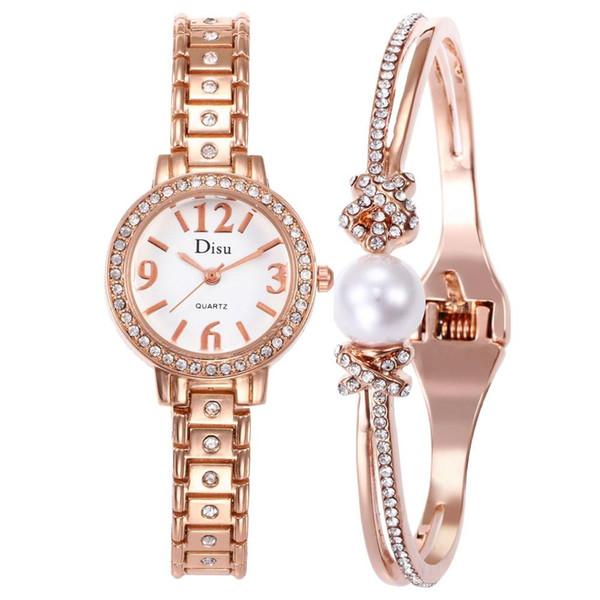 Relojes calientes Mujeres Reloj de cuarzo de oro rosa Reloj redondo clásico de las señoras Reloj de las mujeres Relojes Montre Femme relogio feminino