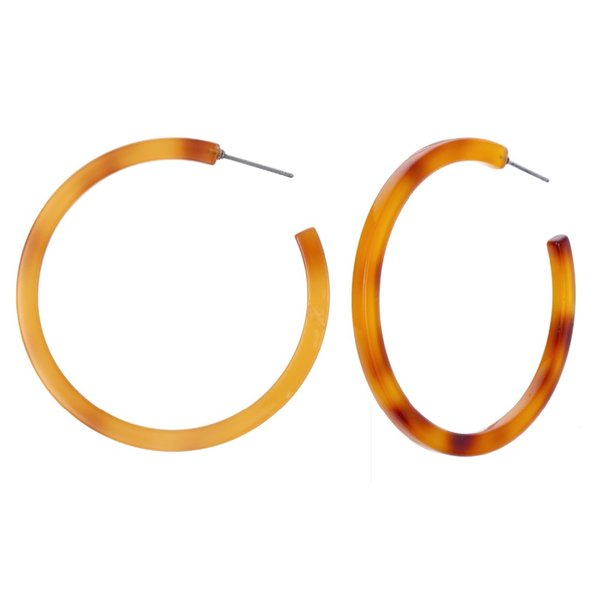 1pair Europe Vintage Resin Big Hoop Earring For Women Candy Color Acetic Acid Earrings Personality C Shape Earring Jewelry E544