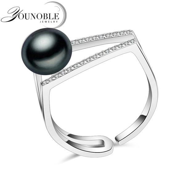 Anel natural da pérola natural preta de água doce de 100% para mulheres, casamento fêmea ajustável do anel da prata 925 esterlina