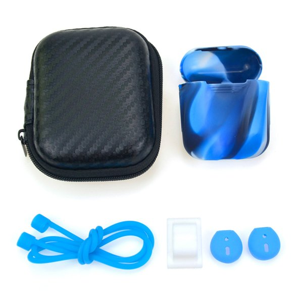 Silicone Protector Case For Airpods with Holder Strap Earplugs Wireless Headset Portable Protect Case Set Accessory For Apple Airpods