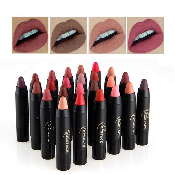 New Sexy 24 Colors Waterproof Velvet Matte Lipstick Pencils Long Lasting Lip Stick Moisturizer Pigment Nude Lip Matte Lipstick