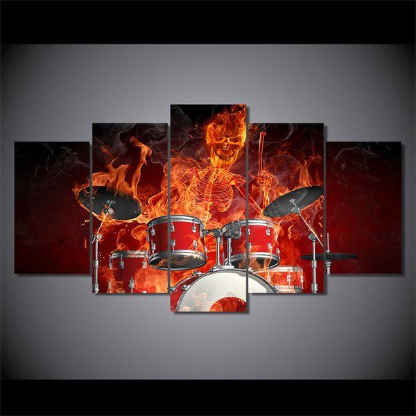 Acheter 5 Pièces Set Hd Moderne Toile Peinture Murale Flamme Skeleton Drummer Crâne Décoration Intérieure Image Poster Prints Oeuvres De 36 98 Du