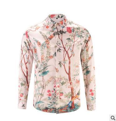 Fashion men casual shirt 3D Digital Printed Tree Cardigan High quality handsome clothes Single-breasted long-sleeved shirt