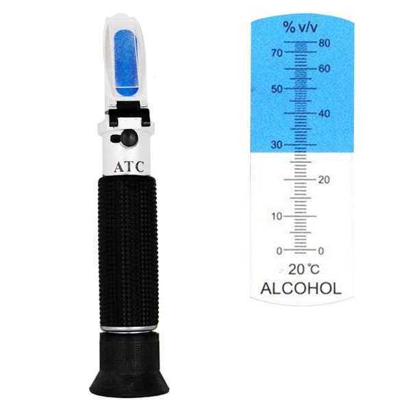 2018 Portatile Rifrattometro per Alcol 0-80% Brix V / V Liquore Contenuto Alcool Contatore Tester Alcolometro Con Scatola Al Minuto