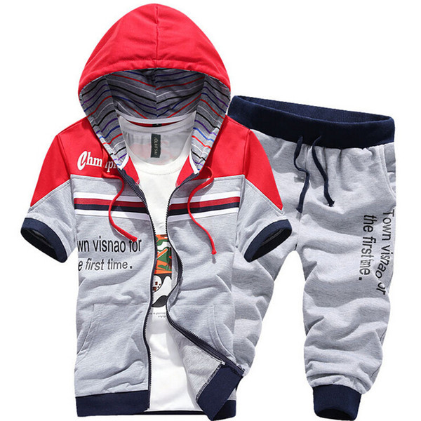 2017 Summer Casual Men Short Sleeve Hoodies Sporting Suit Patchwork Letter Printed Men Fashion Hoodies+Shorts 2 Piece Sets