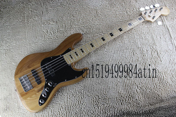 Free Shipping Baixo Natural Color Jazz Bass 5 String Natural Color Active Pickups 9V Battery Bass Guitar In Stock