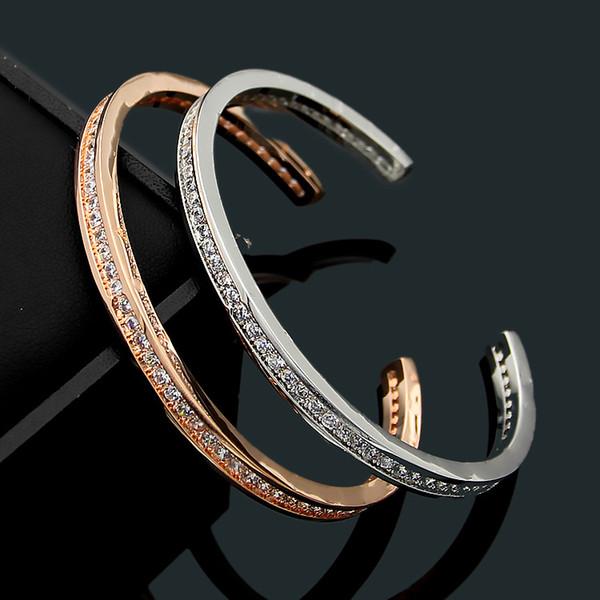 Classic 316L titanium steel B letter C-shaped crystal stone couple bracelets 18K gold ladies love bracelet jewelry wholesale