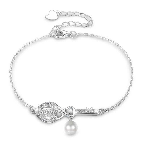 SILVERHOO 925 Sterling Silver Heart shaped Key Lock Zircon Pearl Bracelet Simple Female Sterling Silver Bracelets