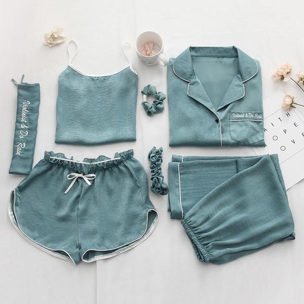 Mulheres Pijamas 7 pcs Define Sexy Imitação De Seda Pijama Set Solto Casaco + Camisola + calça longa + curto Calça e Corda de Cabelo Das Mulheres Nightwear