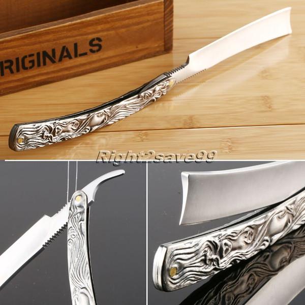 Cuchillo afeitado 2017 Cuchillo plegable Nuevo borde recto Talladora de acero inoxidable Peluquería Maquinilla de afeitar Plegable de aleación de aluminio