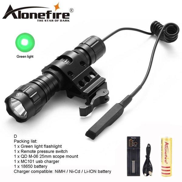 AloneFire CREE 501Bs Green Flash LED Tactical Flashlight Tactical Pressure Switch Mount Hunting Camping Lighting for Lithium Battery