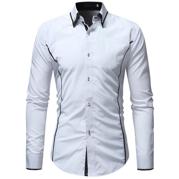 mrwonder Men Fashion Slim Long-sleeved Shirts Hit Color Lapel Collar Casual Tops