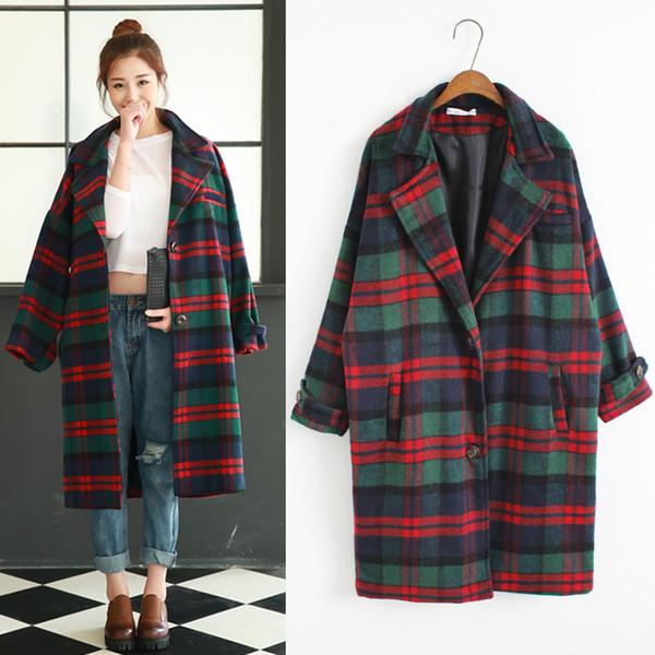 2017 Women'S Harajuku Spot Plaid Jacket Winter Slim Korean Woolen Retro Coat Female Korean Kawaii Velvet Wool For Women