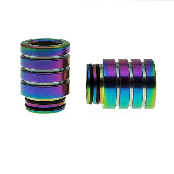 810 Thread Drip Tips Rainbow Silver Color Stainless Steel SS Drip Tip for Wide Bore Mouthpiece TFV8 TFV12 Prince Tank Vape Bulb