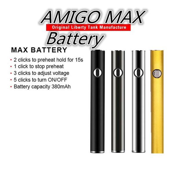 Baterías originales Amigo MAX Vape Pen Batería Precalentamiento Voltaje variable 380 mah Carga inferior Carga inferior 510 Batería para carros Amigo V9