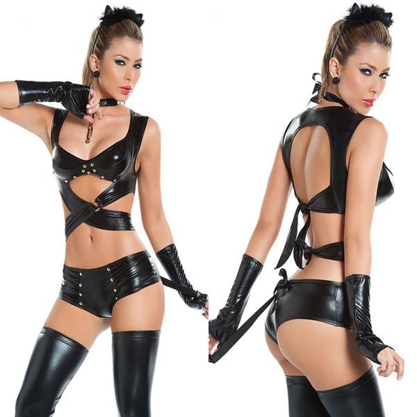 Femmes Sexy Lingerie En Cuir Imitation Latex Chat Femmes Cosplay Club Soirée Porter Des Fêtes Halloween Catwoman Costumes adultes C18111601