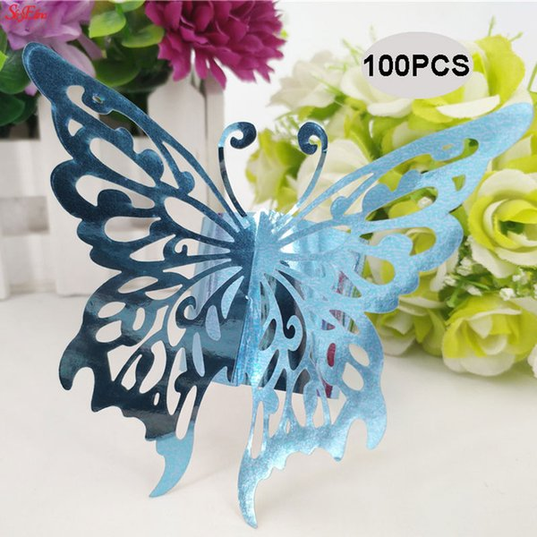 100pcs/lot Christmas Butterfly Shape Napkin Rings Napkin Buckle Hotel Wedding Party Table Decoration 6ZSH091