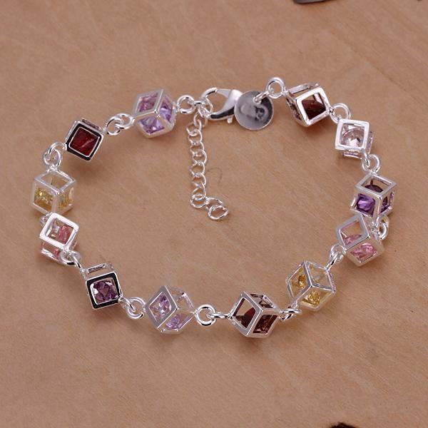 Factory Price Brand New 925 Silver Bracelet Bangle Jewelr Shinny Colorful Squares Charm Link Bracelet 10 Piece Sale