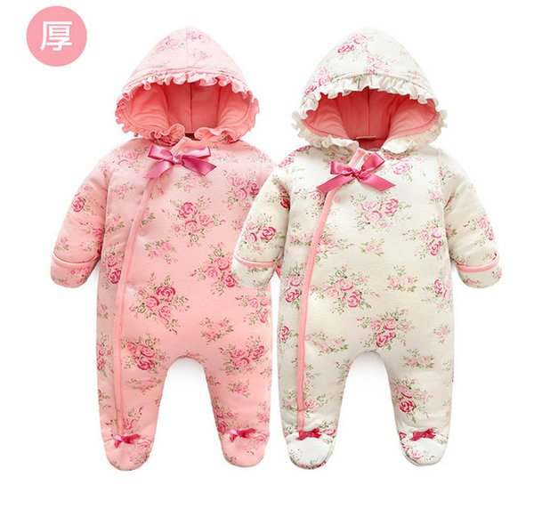 Newborn Girls winter Rompers, 2018 Baby winter sleeping bag long sleeve Floral Infant one piece clothing Jumpsuit bodysuits kids rompers