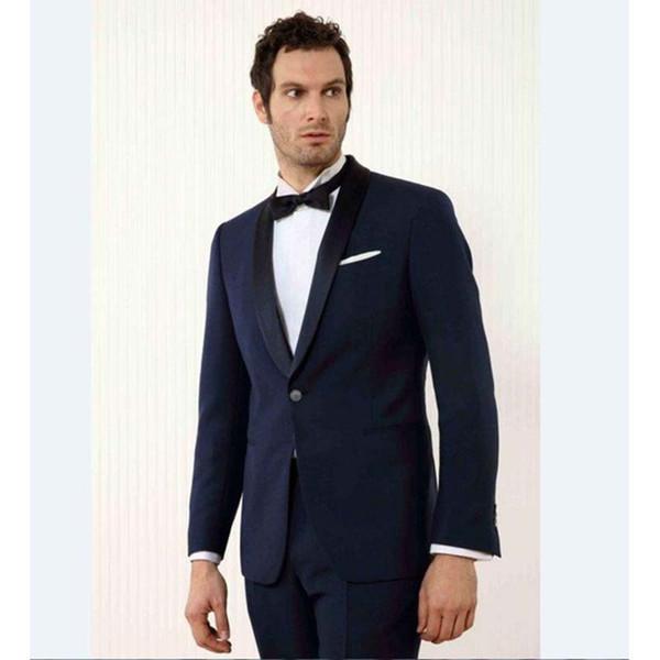 994fa66ce33d6 2017 Custom Made negro solapa novio hombres traje smoking azul marino para  hombre trajes de boda
