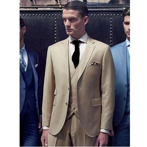 3 Pieces Mens Suits Beige Handsome Groom Wedding Tuxedos Business Formal men Suit Custom Made (Jacket+Pants+Vest)
