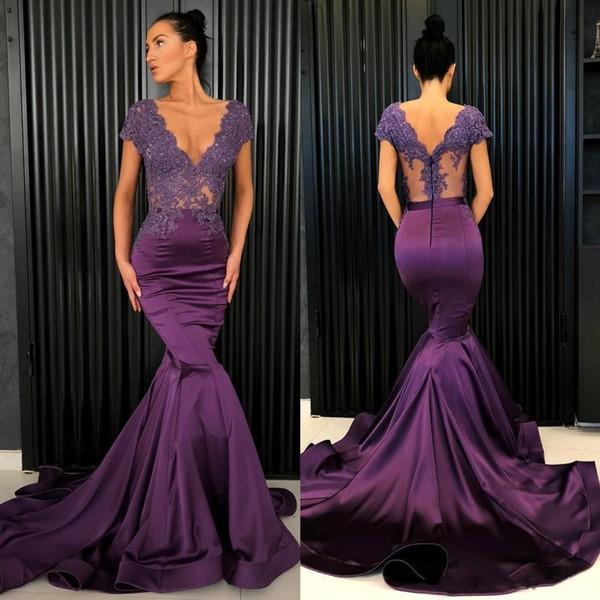 Raisin violet robes de bal sexy col en V dentelle et satin robes de soirée sirène voir à travers top cap manches robe de soirée formelle fait sur commande