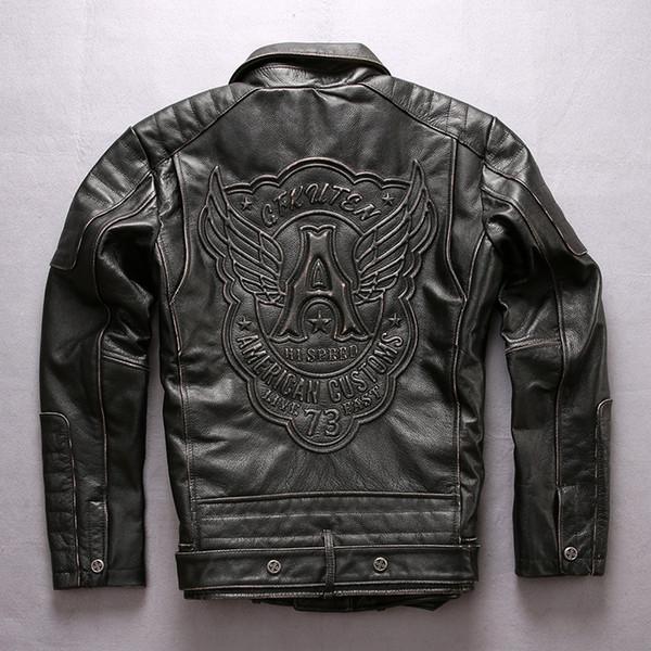 Sürüm güncelleme Yıpranmış erkek Deri Ceket CANLı 73 HıZLı Kemer kanat yaka Eğik fermuar ile bir kanatları motosiklet ceket hakiki deri