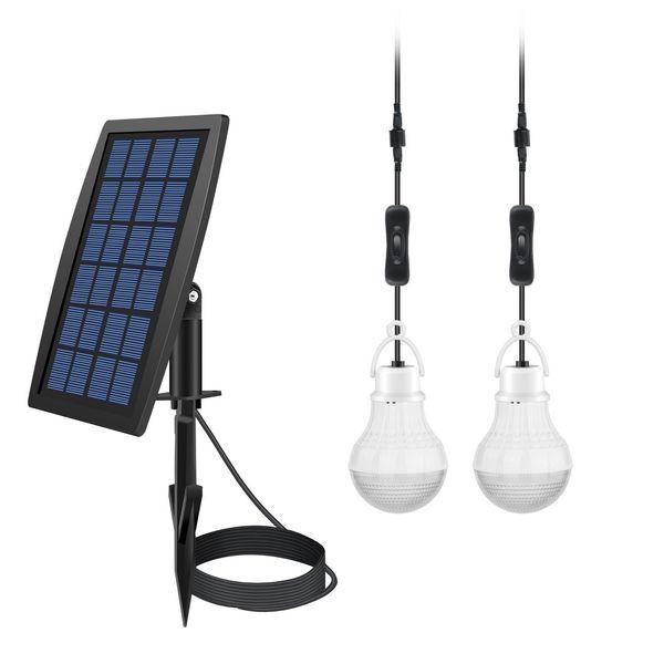 Solar Power LED Bulb Lamp Solar Shed Light / Solar Barn Light Camp Bulb (2 Led Bulbs)