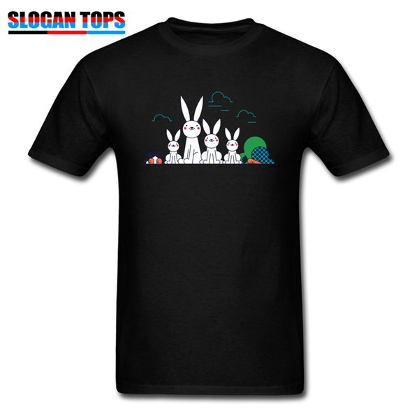 Cute T-shirt For Men Father Gift T Shirt Mens Tshirt Rabbit Family Cartoon Print Clothes Summer Cotton Tops Funny Tees Lovely