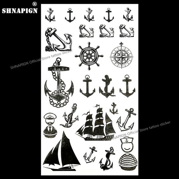 SHNAPIGN Marine Piraten Anker Temporäre Tattoo Body Art Arm Flash Tattoo Aufkleber 17 * 10 cm Wasserdichte Gefälschte Henna Schmerzlos Aufkleber