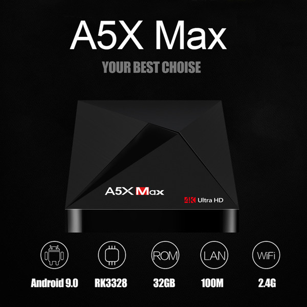 A5X Max Android 9.0 TV Box 4GB/32GB RK3328 Quad Core 2.4G Wifi Bluetooth 4K Streaming Media Player Home Movie Android9.0 TVbox