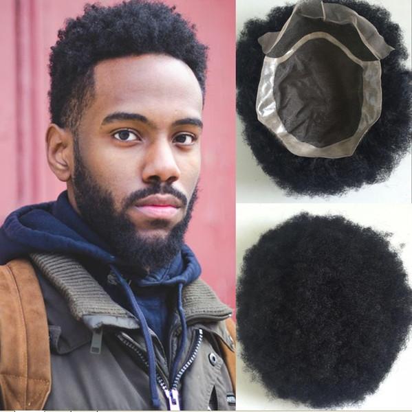 Großhandel Top Qualität Afro Locken Männer Toupee Schwarz Jungfrau Malaysischen Remy Haar Männer Toupee 7x9 Größe Menschenhaar Toupet Für Schwarze