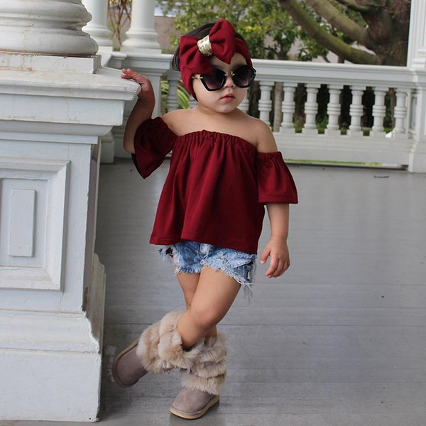 2018 summer girls boutique clothing sets kids headbands off the shoulder tank tops shirts ripped jeans denim pants outfits children clothes
