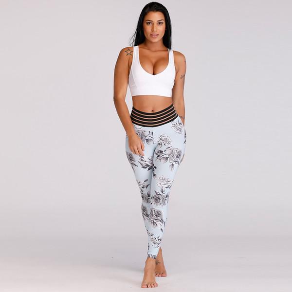 Kadınlar 3D Dijital Baskı Şınav Kalça Geri Cep Elastik Waistand Spor Yoga Pantolon Sıkı Legging Spor Femme Fitness Yüksek Bel Gym Kadın