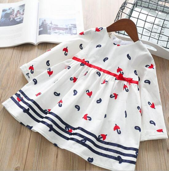 girl clothing kids Elegant round collar long sleeve with umbrella embroidery girl kids dress charming pleated girl dress
