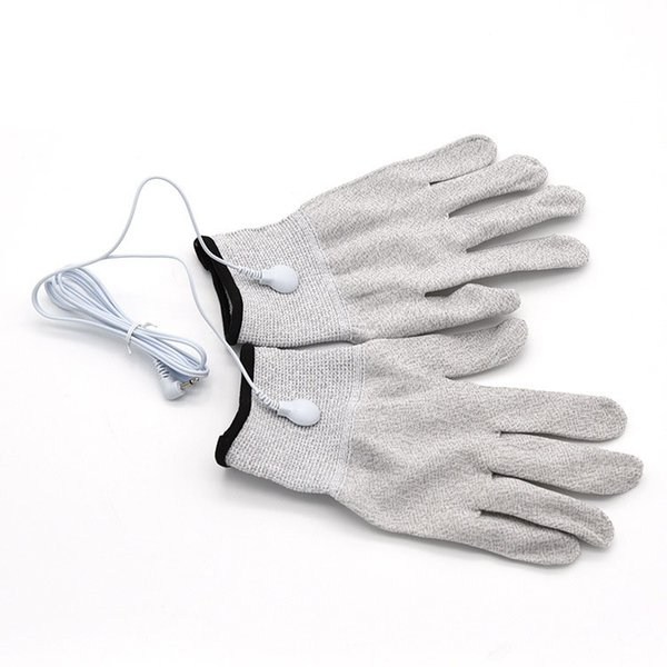 Electrical Shock Silver Fiber Therapy Electrode Gloves Electro Shock Glove Electric Conductive Gloves Sex Products Include Cable