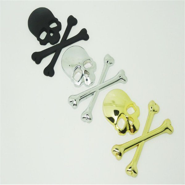 10 PCs / Pack Metal skull 3D stereo car stickers ghost head car stickers 3D metal side stickers