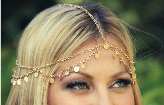 Beach Boho Head Chain Hair Jewelry Bindi hair accesories Coin Headband Bohemian Hair Band For Women Gift