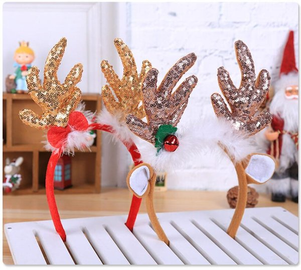 2 pcs/set Christmas Ornaments Cute Sequins Snowflakes Big Antlers Christmas Headbands Good Christmas Gifts 2 Styles Optional