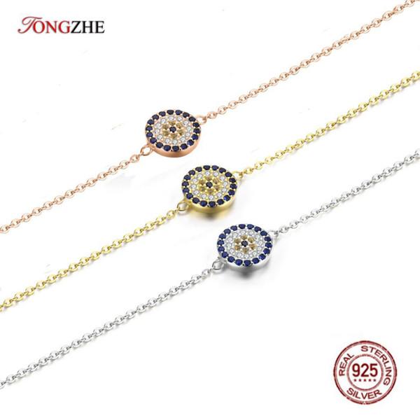 TONGZHE Genuine 925 Sterling Silver Bracelets Bohemian Round Evil Eye White Rose Gold Blue CZ Women Wedding Jewelry KLTB008-1