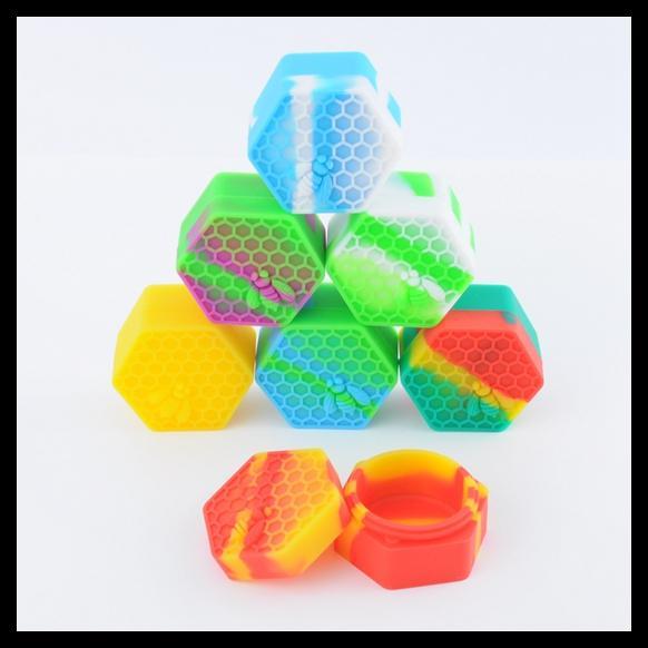 26ml Rasta Hexagon Silicone Container NonStick Honeybee Silicone Jar Oil Wax Container