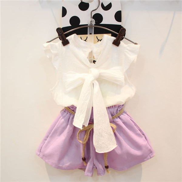 2018 Baby Girls Clothes Children clothes summer girl bow shirt+short pants 2 pieces kids fashion clothing