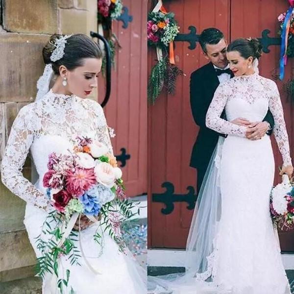 2019 новые элегантные свадебные платья с длинными рукавами русалка винтаж с высоким вырезом и кружевами свадебные платья