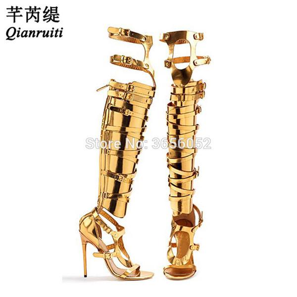 Qianruiti hebilla metálica sandalias de gladiador con tirantes negro plata dorado muslo botas altas de verano tacones altos recortes zapatos mujer