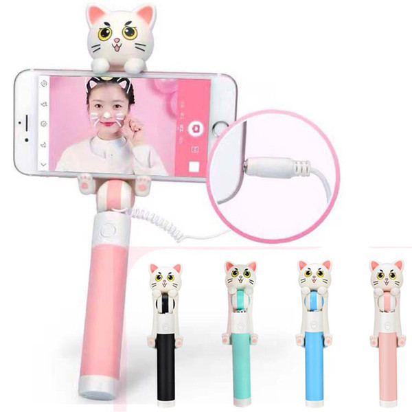 Mini telescopic Selfie Stick Monopod Wired Extendable,Cartoon Cat self-timer For iPhone 6s Samsung Android Smartphone Mobile Phone Self-Pole