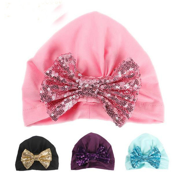 Sweet Baby Girl Hat with Sequin Bow Elastic Cotton Baby Beanie Cap Candy Color Sparkle Infant Hats for Girls GA434