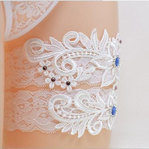 Two Pieces Set High Quality White Ivory Bridal Garter Belts With Lace Royal Blue Beads Real Photos Wedding Garters