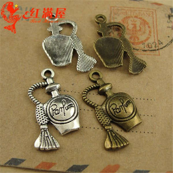 15*28MM Vintage silver parfum perfume bottle charms antique bronze pendant metal jewelry making dangle for bracelet earring