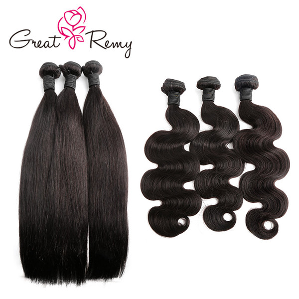 top popular Greatremy® 3pcs lot Donor Brazilian Virgin Hair Weave Bundles Natural Black Body Wave Straight Curly Human Hair Extensions 300g lot 2021