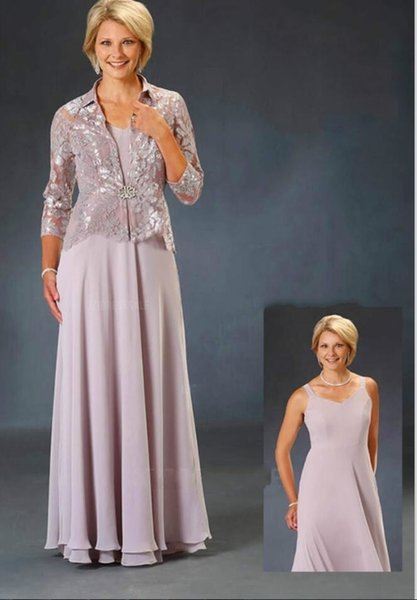 Plus Size Mother Of The Bride Dresses With Jacket Chiffon Lace Long Sleeve Elegant Mother Wedding Guest Dress V Neck Prom Dress Party